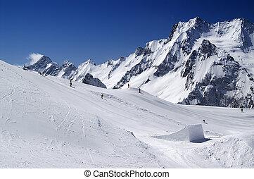 Snowboard park. Caucasus Mountains, ski resort Dombay.