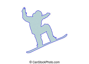Snowboard Patch - Snowboard man silhouette patch over white...