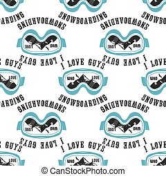 Snowboard pattern background. Winter ski seamless design with snowboarding mask, mountains and quote - I love guys who love snowboarding. Typography wallpaper. Stock vector isolated
