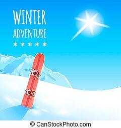 snowboard, paysage hiver