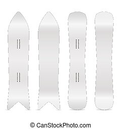 Snowboard Realistic Blank Set Vector. Empty Clean White Snowboards Template. Front, Back Sides. Different Types. Isolated Illustration