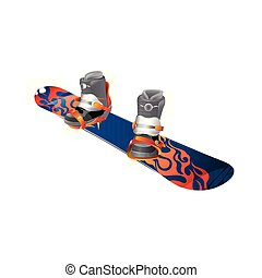Snowboard realistic vector illustration. Wooden snowboard with holes for mounting boots.