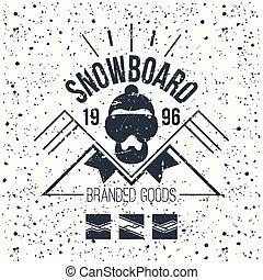 Snowboard retro emblem