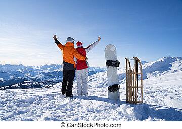 snowboard, sáně, stálý, young kuplovat, sněžit