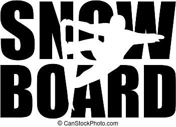 snowboard, słowo, z, cutout