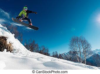 snowboard, saltar, snowboarder