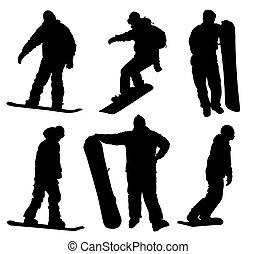 snowboard, satz, silhouetten