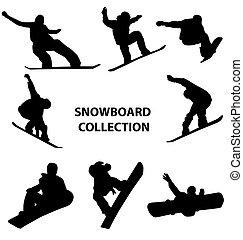 snowboard, silhuetas, cobrança