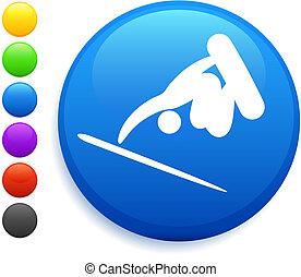 snowboard( skateboard) icon on round internet button