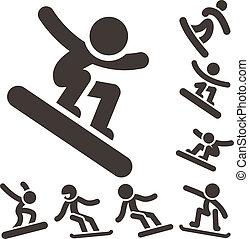 snowboard, sport, -, hiver, icônes