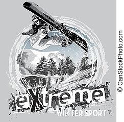 snowboard, sport, hiver