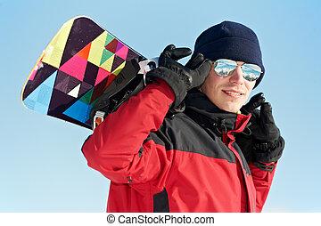snowboard, sportler, glücklich