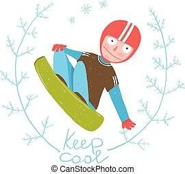 snowboard, stinkande, gratis, ryttare, hoppning, färgrik, tecknad film, för, kids.