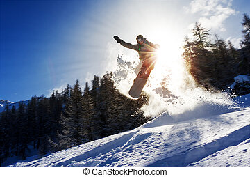 Snowboard sun power - Powerful image of a snowboarder ...
