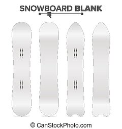 Snowboard Template Vector. Empty Clean White Snowboards Mock Up. Two Sides. Isolated Illustration. Ski Resort Activity