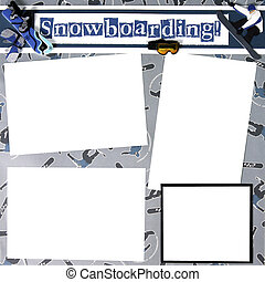 Snowboard Theme Scrapbook Frame Template