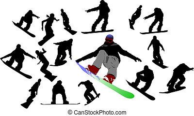 snowboard, uomo, silhouettes., vettore, illustrazione