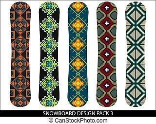 snowboard, vecteur, conceptions, meute
