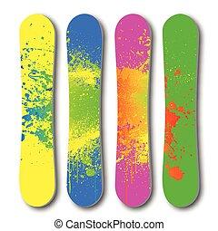 snowboard, vecteur, grunge, set., coloré