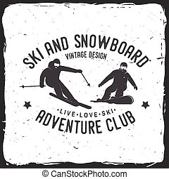 snowboard, vector, esquí, illustration., club.