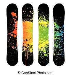 snowboard, vector, grunge, set