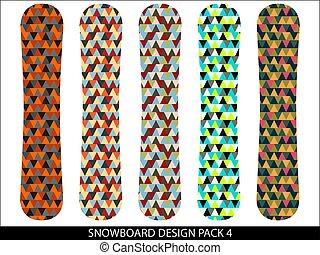 snowboard, vettore, progetta, pacco