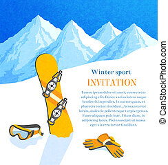 Snowboard winter invitation - Snowboard winter mountain...
