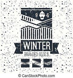 Snowboard winter mountains emblem
