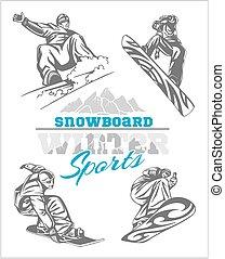 Snowboard - winter sport. Vector stock illustration.