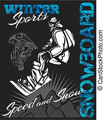 Snowboard - winter sport. Vector stock illustration. -...
