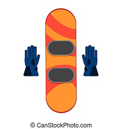 snowboard with gloves winter sport icons