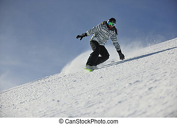 f05df25688bc Cool snowboard woman. Happy smiling girl with lifted hands stand on ...