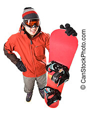 Snowboarder - An isolated shot of an asian snowboarder
