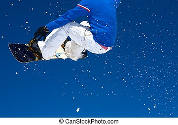 Snowboarder and a blue sky