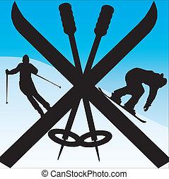 ski - snowboarder and skier in skis on slope under blue sky