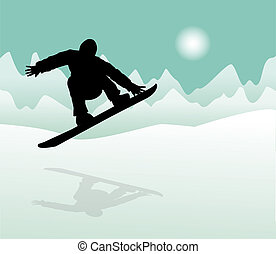 Snowboarder at jump in high mountains