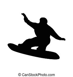 Snowboarder black silhouette isolated on white background