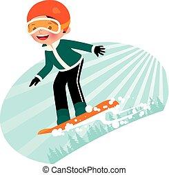 Snowboarder - Cartoon snowboarder fun coming down the...