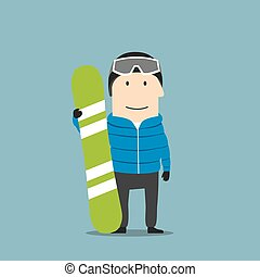 Snowboarder character in ski wear with snowboard