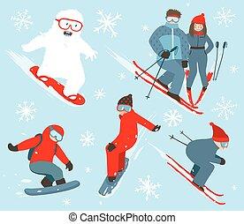 snowboarder, collection, illustration, skieur, sport, hiver