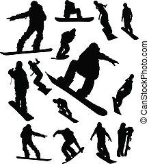 snowboarder, człowiek, komplet, sylwetka