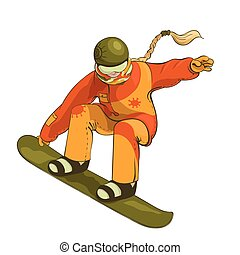 Snowboarder during a jump tail grab isolated on the white background.