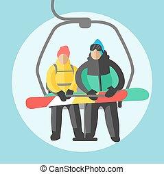 snowboarder, elevators., gondole, séance, recours, ascenseur, fond, sport, ski, hiver