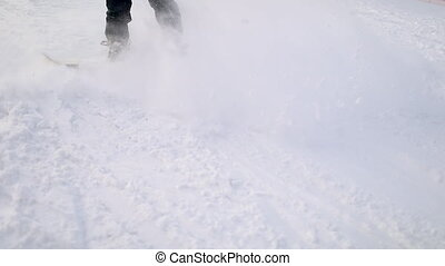 Snowboarder Falling on the Ground During Skiing on the Hill