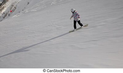 Snowboarder follow shot - Snowboarding in the alps, making...