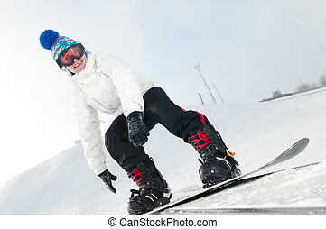 snowboarder, glücklich