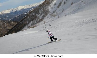 Snowboarder going fast - Snowboarding in the alps, steadycam...