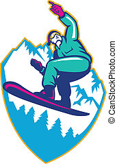 Snowboarder Holding Snowboard Alps Retro - Illustration of a...