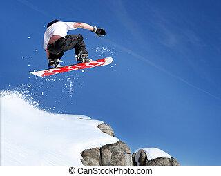 snowboarder, hoppning