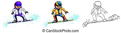 Snowboarder in three different drawing styles